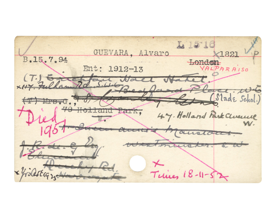 Álvaro Guevara registry card. Courtesy of Slade School of Arts, London