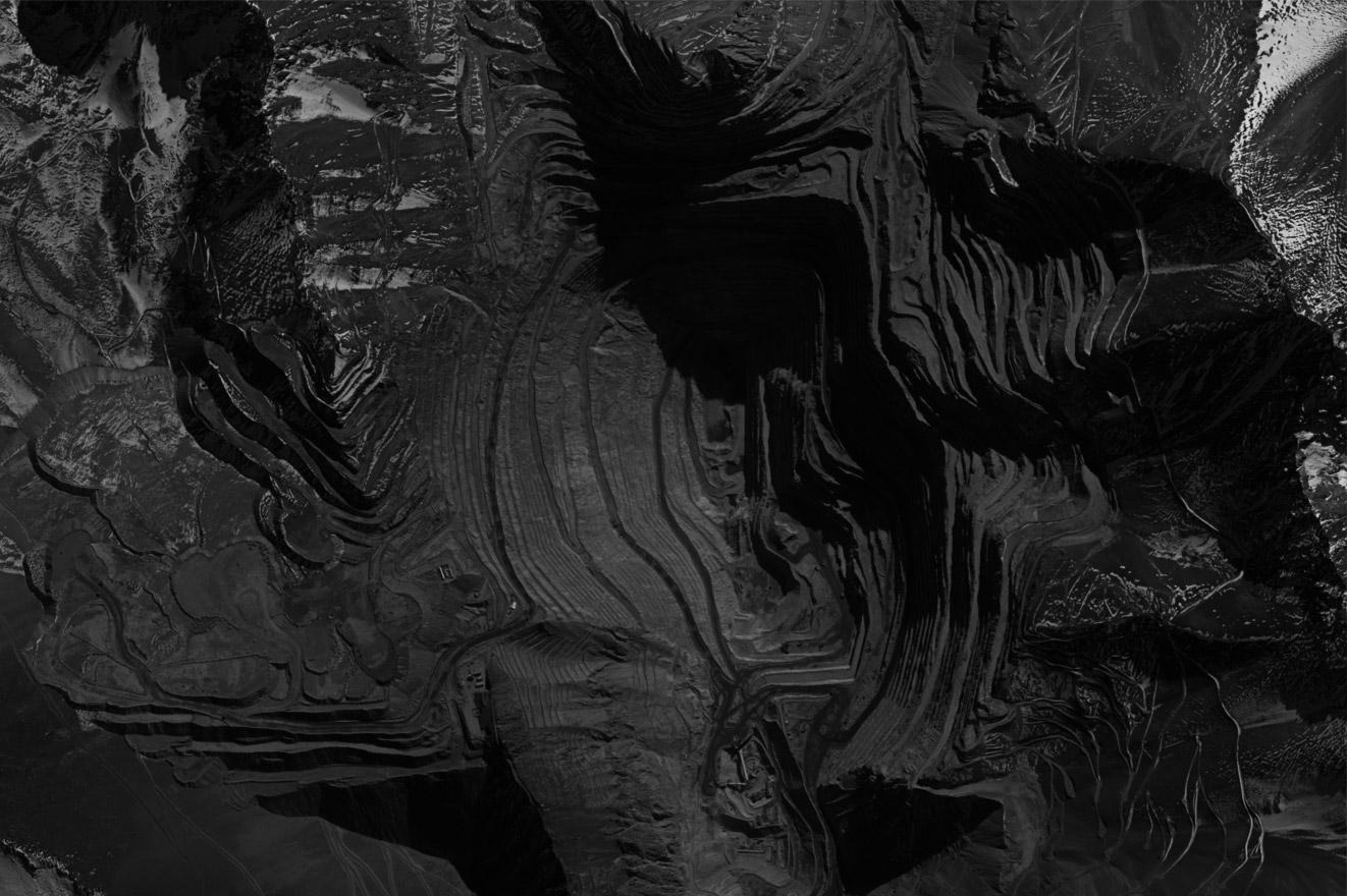 Satellite view of Los Pelambres copper mine. From 'Antofagasta Plc. Stop Abuses! (from 'Copper Geographies'). Image courtesy of Servicio Aerofotogramétrico de la Fuerza Aérea de Chile (SAF)