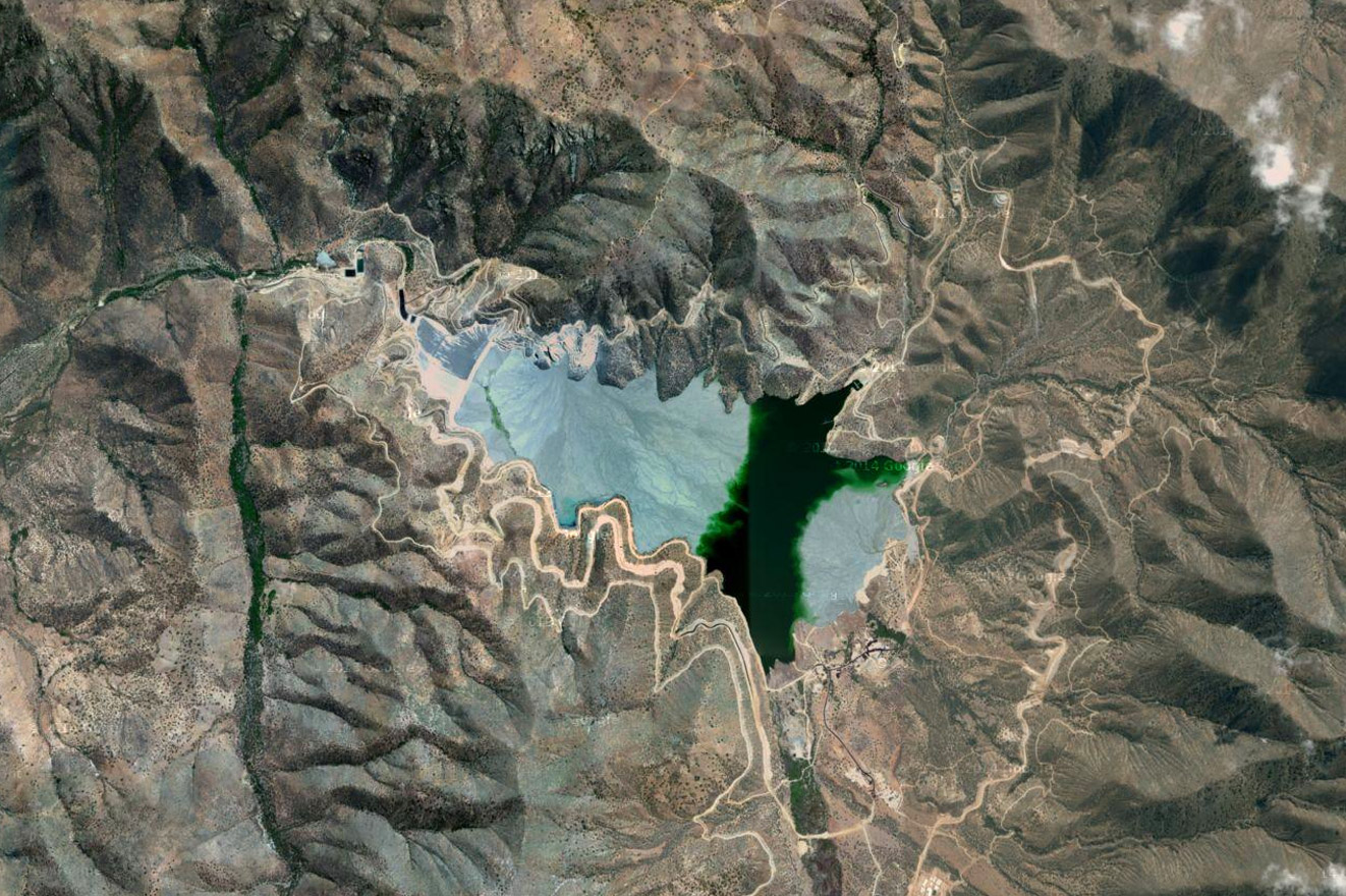 Satellite view of El Mauro tailings dam. From 'Antofagasta Plc. Stop Abuses! (from 'Copper Geographies')