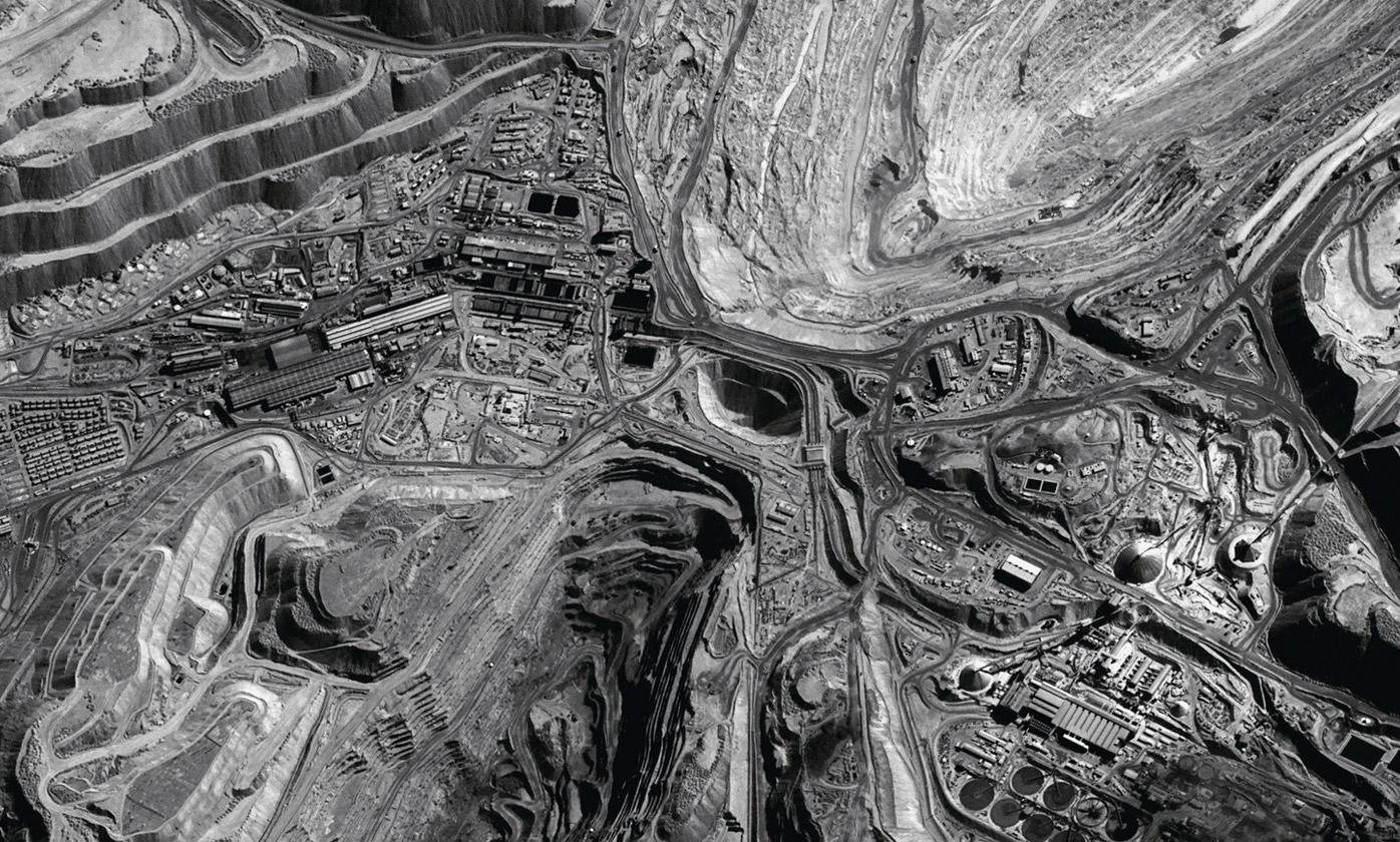 Satellite view of Chuquicamata mining town. Image courtesy of Servicio Aerofotogramétrico de la Fuerza Aérea de Chile (SAF)