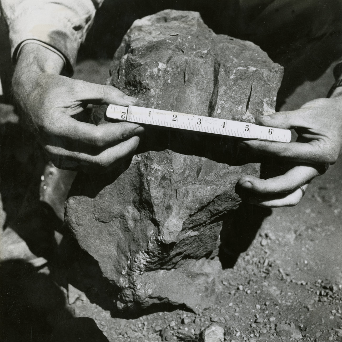 Iron Ore as provided by Mother Nature: This huge chunk of raw ore has yet to be crushed before being shipped from the mine for smelting. Press photograph by Hamilton Wright, 1951