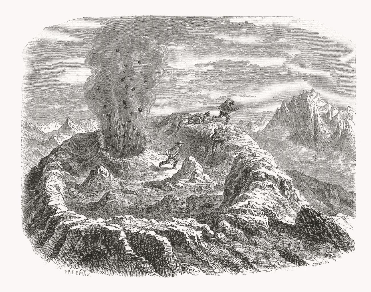 Claudio Gay, Salto El Laja, Volcán Antuco from Atlas de la Historia Física y Política de Chile, 1854