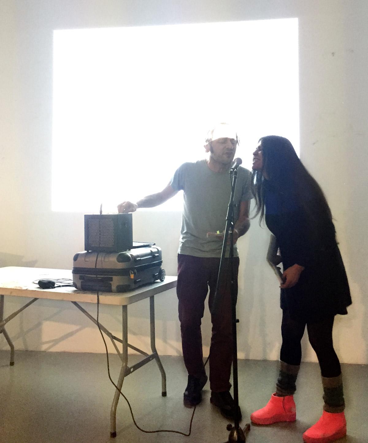 Performance piece by Luna Montenegro and Adrian Fisher based on Álvaro Guevara's poems, Slade School of Arts, London