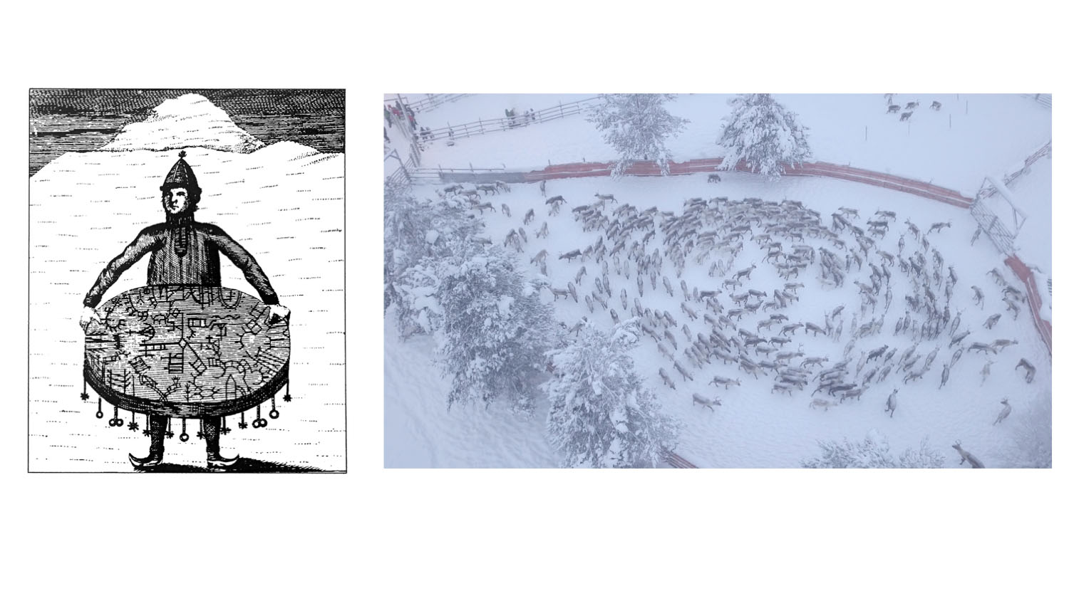 Sámi shaman with a drum. Drawing by Knud Leem, 1767; and Litte ja Goabddá [Drones and Drums], 2018