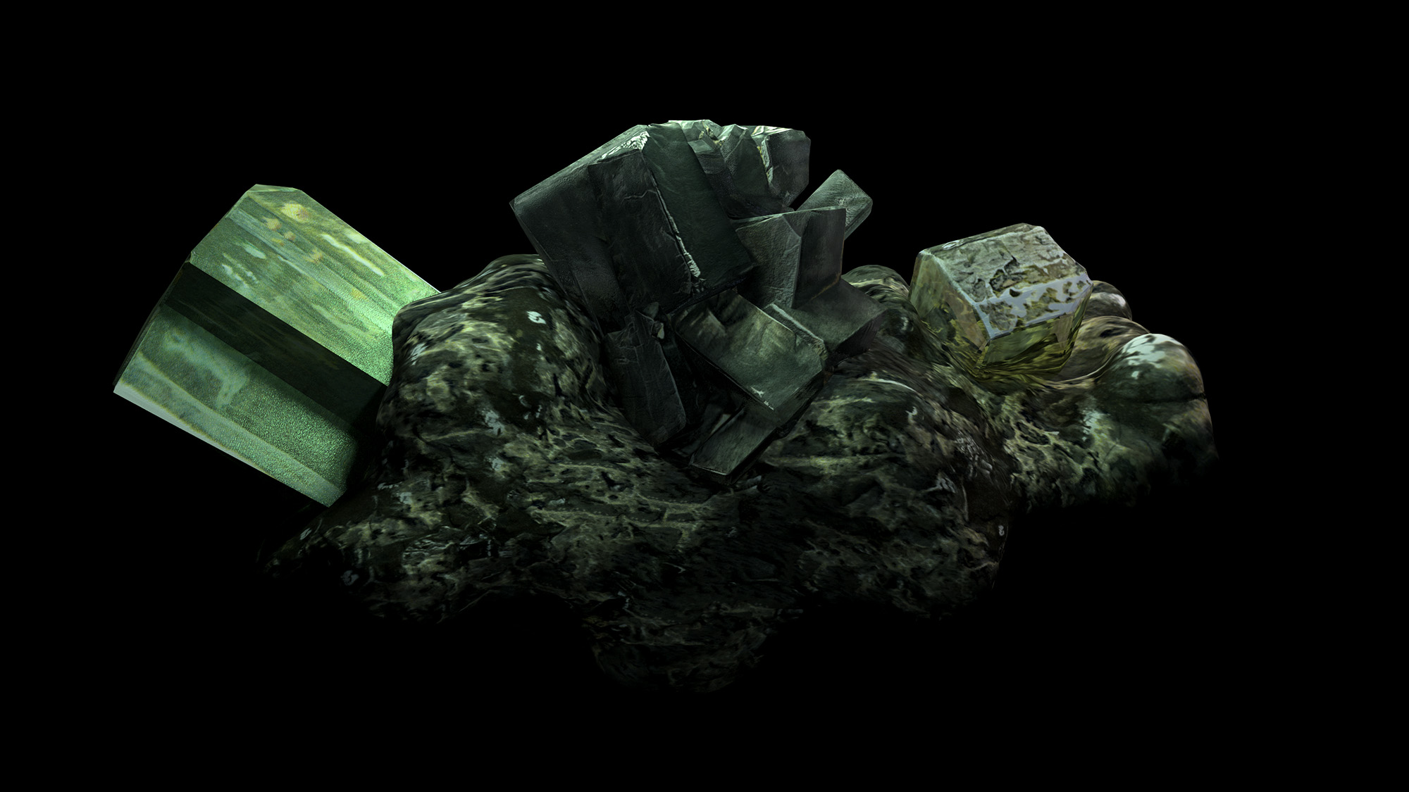 CGI visual of imaginary mineral using 3D modeling techniques, developed in collaboration with Valle Medina and Benjamin Reynolds (Pa.LaC.E), Video Still: Archeology of Sacrifice , 2020