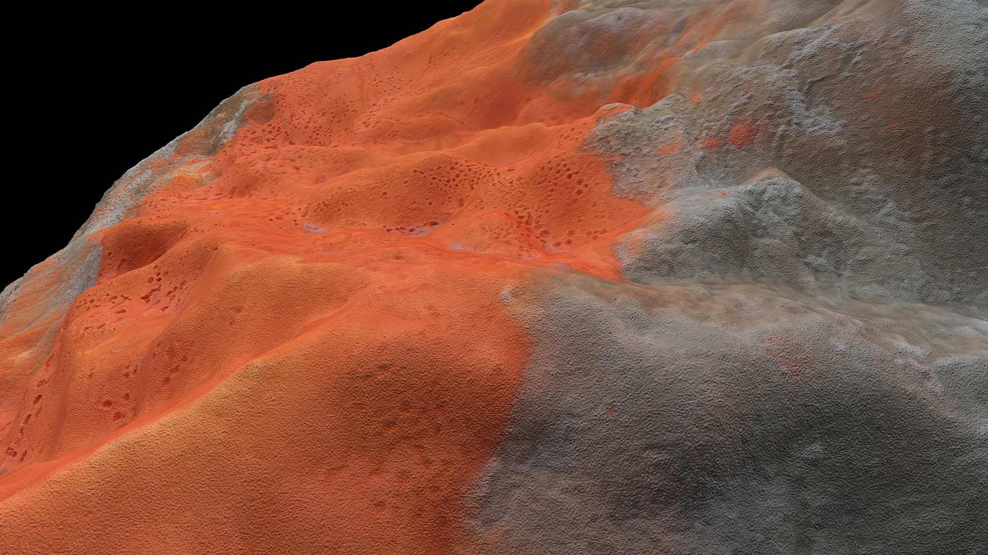 CGI visual of a limestone collected at Le Mormont using photogrammetry 3D based modeling technology, developed in collaboration with Valle Medina and Benjamin Reynolds (Pa.LaC.E), 2020
