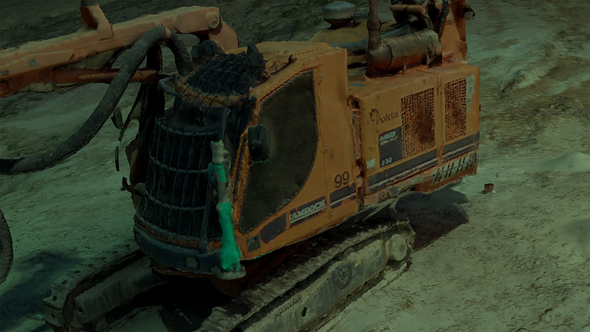 CGI visual of an excavator under water using photogrammetry-based 3D modeling, technology from drone perspective, developed in collaboration with Valle Medina and Benjamin Reynolds (Pa.LaC.E), 2020