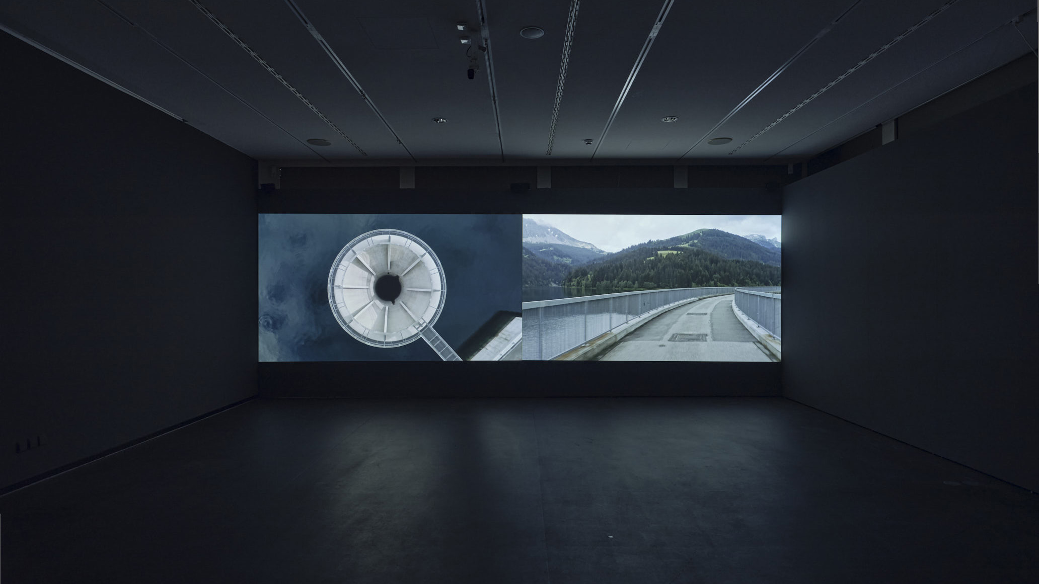 "Installation view Archaeology of Sacrifice (2020). Two-channel video installation with surround sound, 16'45"". ZF Art Foundation Guest, Zeppelin Museum Friedrichshafen, Germany © Rafael Kroetz"